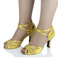 Customized Heels Women's Satin Upper Ankle Strap Ballroom / Latin Yellow Dance Shoes With Rhinestone JYG881