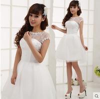 Bride short design wedding dress bridesmaid dress white lace princess bridesmaid dress