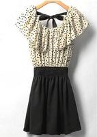 2015 New Women Summer Dress Fashion Chiffon Dress Short-sleeve Dots Polka Waist Mini Black Casual Dress vestidos femininos Hot