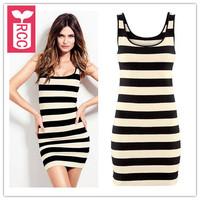 Drop ship!2015 new brand sexy black and white stripe tight Casual dress cotton Tank Top slim bodycon