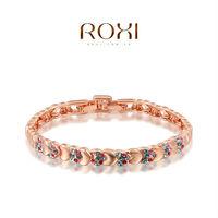 2015 ROXI -Fashion heart shape Crystal bracelet Bangle AAA zircon women bracelet charm bracelet christmas gift fashon jewelrys