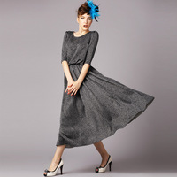 S-5XL Brand Ladies Grey Pleated Full Sleeve Casual Dresses Women Maxi Long Dress 2014 Spring Autumn Winter Plus Size XXXXXL