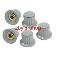 5pcs Volume Control 6mm Split Shaft Diameter Potentiometer Knobs Gray