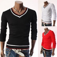 Men's fashion slim  hit color long sleeve shirt 179
