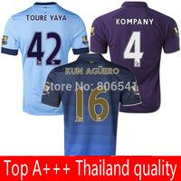 Top A+++ camiseta manchester jersey 2014 2015 home away blue purple Soccer Jersey KOMPANY TOURE YAYA KUN AGUERO LAMPARD jersey