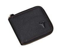 New Arrival Men's short 100% Genuine Leather wallet Classic black Fashion Brand Design zipper leather Purses