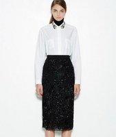 Free Shipping  Spring 2015 Beaded Collar White Shirt for Women 141215XB04