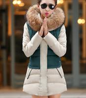 fourrure Winter 2014 women's long coat jacket Korean version of Slim Hooded Down Jacket