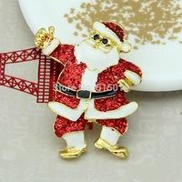 Free Shipping ! 100pcs/lot gold santa claus enamel brooch pin for christmas decoration