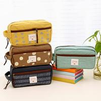 Student Stationery Lovely Minimalist Large Capacity Canvas Pencil Case Zipper Pencil Bag School Supplies Pen Case Pencil Box
