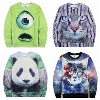 Fashion 3D Animal Print Cat/Panda Winter Hoodies For Men Sports Tracksuit Hip Pop Male Jogging Sueter   Free Shipping n3d003