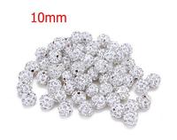 White 20pcs Crystal shamballa Beads 10mm Pave Clay Disco Ball Beads for Shamballa Necklace