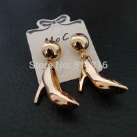 Moco-12 Cinderella's Golden High Heels Pendant Earrings Cute Alloy Fashion Earrings for Woman