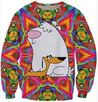 New Fashion Harajuku 2 Stupid Dogs Sweatshirt Cartoon Bear and Dog DOGE CREWNECK Sweats Long Sleeve Sweaters For Women and Men