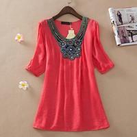 New 2014 Fashion summer casual dress women's top embroidery Half sleeve dress plus size vestidos women clothes XXXL SY2755