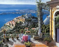 square diamond embroidery landscapes European seaside house needlework crystals mosaic picture full rhinestones painting 40*50cm