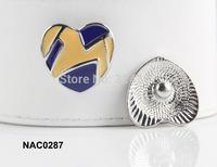 10pcs/lot Newest high quality enamel heart snap charm fit ginger snap leather bracelet NAC0284
