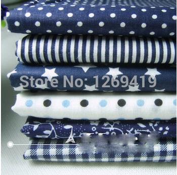 6 шт. 50 * 50 см синий серии хлопчатобумажная ткань квартал расслоение тильда для DIY лоскутное стежка кукла шитье детские домашний текстиль постельное белье Tecido