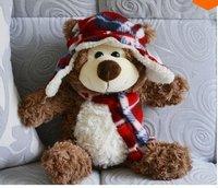 LY8463 2pcs/lot 40CM New Cute Cartoon Hat Bear Plush Toys Christmas Gift