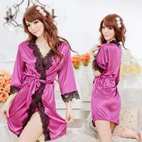 New noble shiny tracksuit pajamas nightgown bathrobe Women Sexy Lingerie Lace 3/4 Sleeve V-Neck Bathrobe Sleepwear