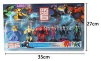 FREE SHIPPING Animation Cartoon 6x Big Hero 6 Hiro/Baymax/Go Go/Wasabi 13cm-15cm Figure Set with base