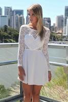 2015 New Fashion Women Casual Dress Patchwork Black Long Sleeve Dress Lace Dress Vestidos
