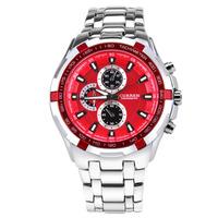 Luxury Men's Curren Watches Fashion Brand Alloy Business Quality Watch Three Eyes Stainless Steel Silver Quartz Wristwatch
