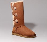 Women snow boots female fashion Australia warm boot ladies genuine leather shoes size 35-41 sapatos femininos  flat heels 4
