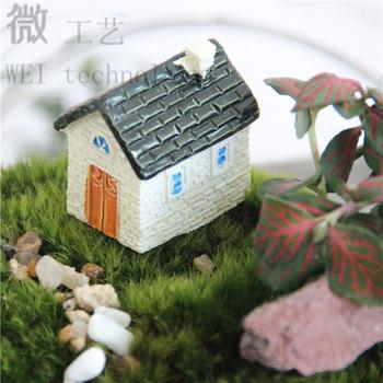Розничная одна часть DIY домик потертый дома синий красный фея сад гном террариум домашнего декора бонсай сад смолы миниатюры