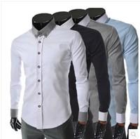 Hot sale men casual shirt long sleeve british fashion dress shirts 4 colors M-XXL