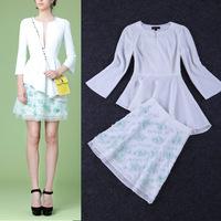 Free Shipping 2015 3/4 Sleeve Asymmetric Blouse+Appliques Skirt  Skirt Set (1 set)   141215XB05