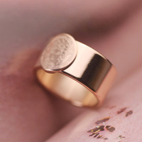 New Style! Fashionable Creative Exaggerated 18K Rose Gold Plated Titanium Steel Vintage Human Head Punk Wide Rings