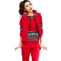 2014 autumn and winter sweatshirt piece set thickening plus velvet plus size clothing spring and autumn sportswear set
