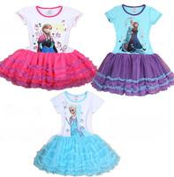 Free Shipping HK/SG post Frozen Princess Elsa and Anna Dress Girl's Purple Tutu Dress Costume