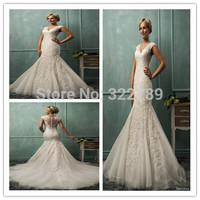 2015 V neck cap sleeve mermaid wedding dress lace applique gauze a purely for flare unbacked plus size wedding dresses