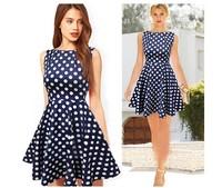 2014 Summer Dress Europe Fashion Casual Elegant Sleeveless Slash Neck Women Dress Dark Blue Party Dot Printed Ball Gown Dress