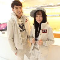 Lovers casual set winter thickening fashion sweatshirt piece set male women's sportswear