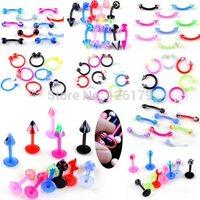 Wholesale 10Pcs/lot Piercing Jewelry UV Flexible Lip Tongue Eyebrow Navel Belly Piercing Body Jewelry Bar Rings