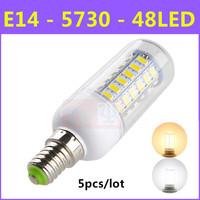 High brightness SMD 5730 Energy Saving LED Lamp E14 9W 48LED AC 220V-240V Warm White/White Corn Bulb Christmas Lights 5pcs/lot