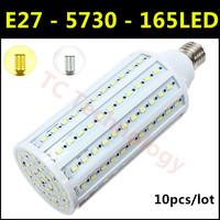 2014 Ultrabright SMD 5730 LED Lamp 165led E27 40W AC220V-240V Warm White/White Corn Bulb For christmas lights 10pcs/lot
