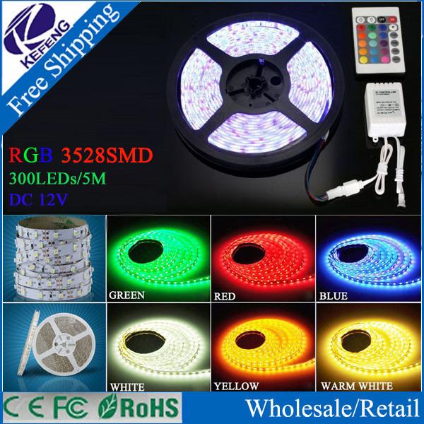3528 LED Strip 5M Ribbon 300Led SMD Led Tape RGB White Warm White Yellow Red Green Blue Flexible LED Light 12V Decoration Lamps(China (Mainland))