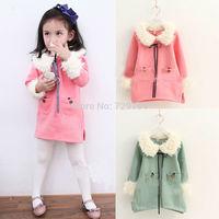 2014 Fashion Plaid Dress Korean girls thick fleece fur collar girl dress children's clothing New winter jacket Free shipping