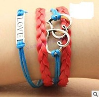 SL0094 Hot New Fashion Wholesale Two Heart Love Infinity Multilayer Leather Bracelet Accessories Jewelry for Women Bangle