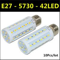 Ultrabright SMD 5730 LED Lamp E27 42leds AC220V-240V 12W Warm White/White Corn Bulb Light For Christmas decoration 10pcs/lot