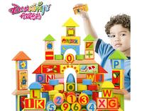 Baby Toy bricks Bear Family Wooden Beech building blocks enlightenment for children Toys Bottled 162 Pcs/lots