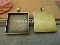 20pcs 23MM Inner size:20mm Metal Antique Bronze Zakka Jewelry Square Blank Cameo Pendant DIY Accessory