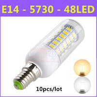 10pcs/lot High brightness SMD 5730 Energy Saving LED Lamp E14 9W 48LED AC 220V-240V Warm White/White Corn Bulb Christmas Lights