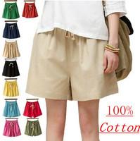 2015 New women loose casual cotton linen shorts skirts,plus size candy color tropical shorts & Capris,shorts feminino  M-4XL 5XL