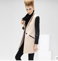 Winter new fashion PU stitching a big buckle female coat woolen coat