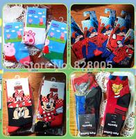"""6pairs/lot length 7"""" Gift--Spider man Kids sport knitted Children sock, girls Kitty sock,baby cartoon socks"""
